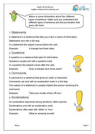 Preview of worksheet Types of sentence