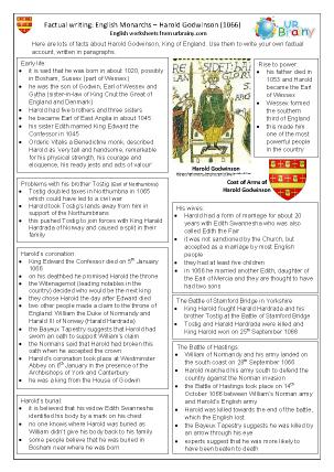 Preview of worksheet Harold Godwinson factsheet