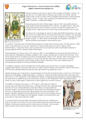 Preview of worksheet Harold Godwinson