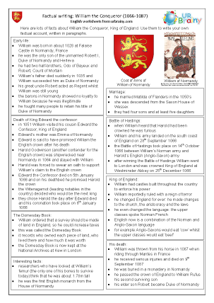 Preview of worksheet William the Conqueror factsheet