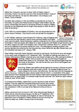 Preview of worksheet William the Conqueror