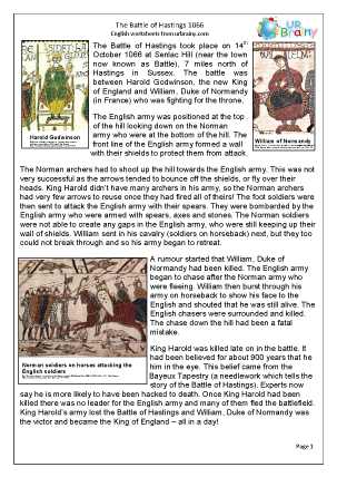 Preview of worksheet The Battle of Hastings