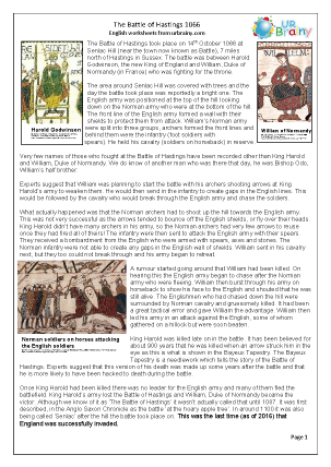 Preview of worksheet The Battle of Hastings (harder)