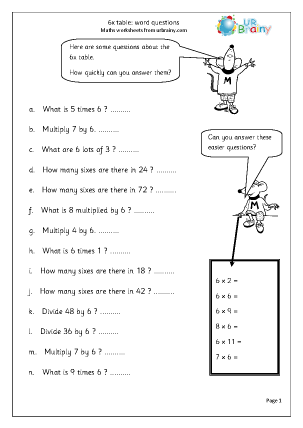 6 Times Table Word Questions