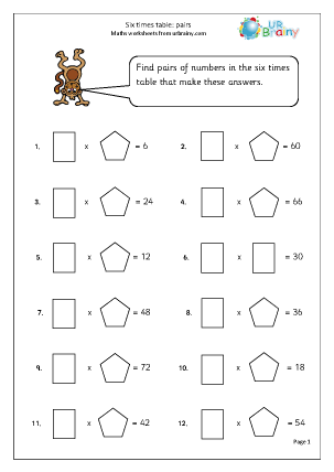 Preview of worksheet 6x table: pairs up to 12