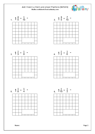 Preview of worksheet Add mixed numbers and proper fractions (6F4)