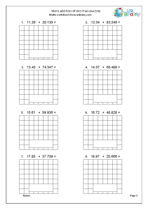 Preview of worksheet More addition of decimals (5F8)