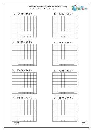 Subtract decimals up to 2 decimal places (5F8)