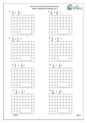Preview of worksheet Multiply simple fractions (6F5a)
