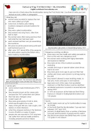 Preview of worksheet Factsheet: Munitionettes