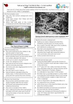 Preview of worksheet Factsheet: Tunnel Warfare