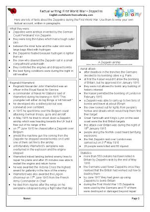 Preview of worksheet Factsheet: Zeppelins