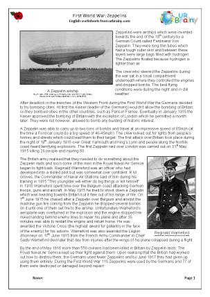 Preview of worksheet Zeppelins
