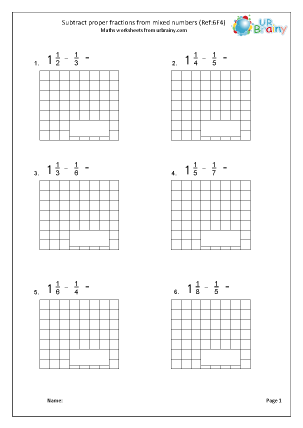 Preview of worksheet Subtract proper fractions from mixed numbers (6F4)