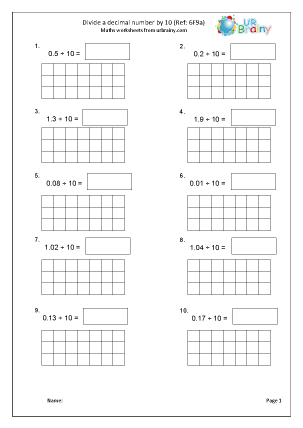 Preview of worksheet Divide a decimal by 10 (6F9a)