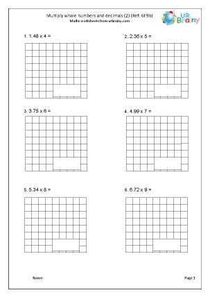Preview of worksheet Multiply decimals by whole numbers 2 (6F9b)