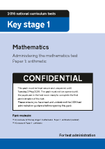 2016 KS1 Mathematics Paper 1 Test Instructions