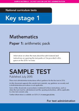 Preview of worksheet Sample KS1 Mathematics Paper1 Arithmetic Instructions