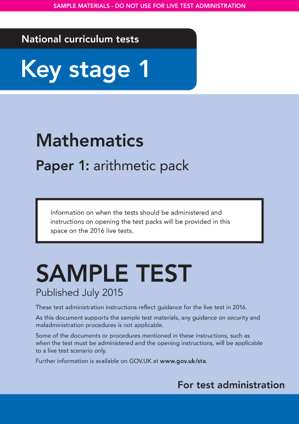 Preview of 'Sample KS1 Mathematics Paper1 Arithmetic Instructions'