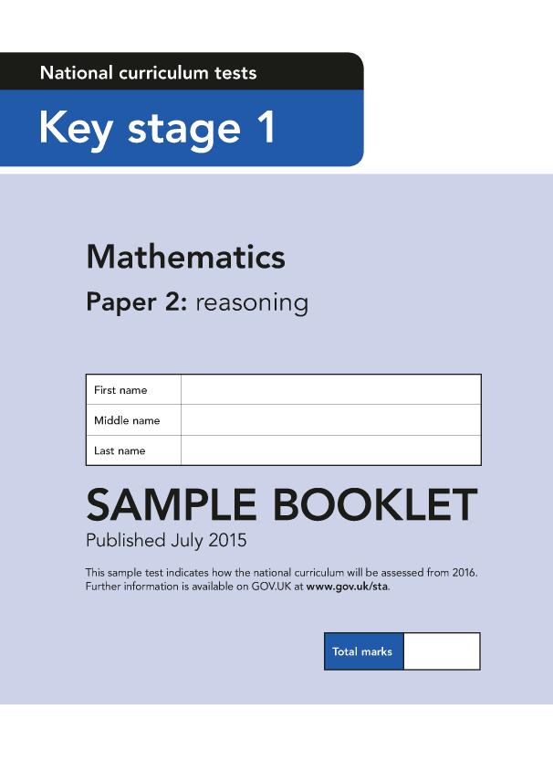 Preview of 'Sample KS1 Mathematics Paper 2 Reasoning'