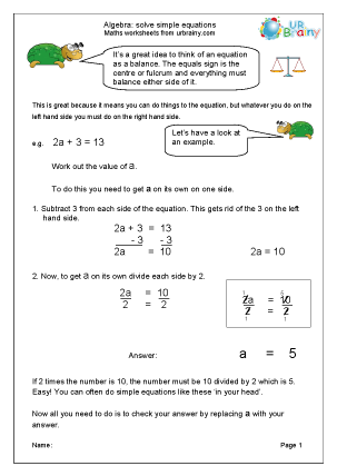 Preview of worksheet Solve simple equations