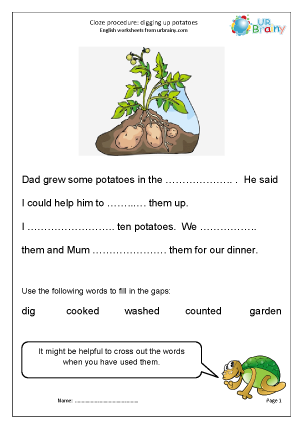 Preview of worksheet Cloze (easier) digging up potatoes