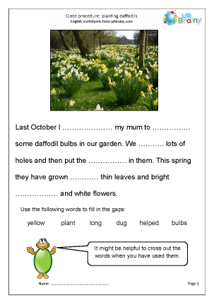 Preview of worksheet Cloze (easier) planting daffodils
