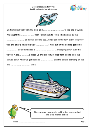 Preview of worksheet Cloze (medium) ferry ride