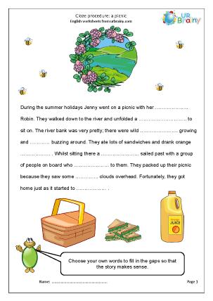 Preview of worksheet Cloze (medium) picnic