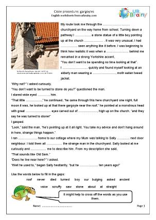 Preview of worksheet Cloze  (hard) gargoyles