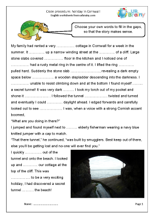 Preview of worksheet Cloze (hard) holiday in Cornwall