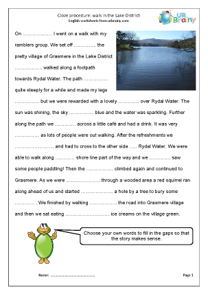 Preview of worksheet Cloze (hard) a  walk in the Lake District