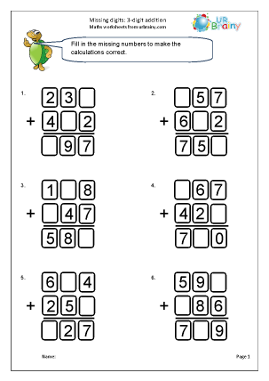 Written addition: missing digits (4)