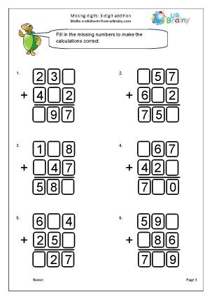 Written addition: missing digits (4)
