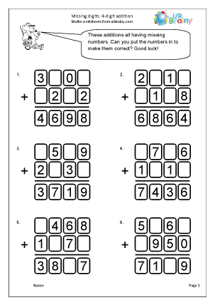 Preview of worksheet Missing digits: 4-digit addition