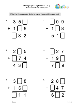 Preview of worksheet Addition: missing digits (3C2)