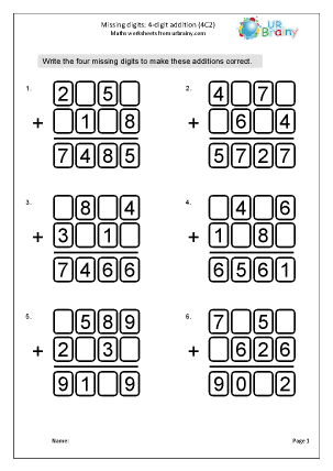 Addition: missing digits (4C2)