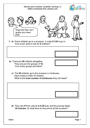 Preview of worksheet Solve money and number problems (1)