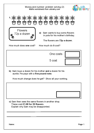 Preview of worksheet Solve money and number problems (2)