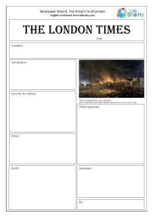 Preview of worksheet Newspaper report: The Great Fire of London