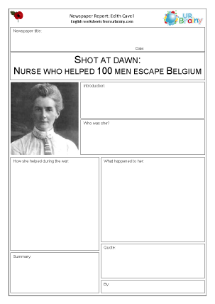 Preview of worksheet Newspaper report: WW1  Edith Cavell