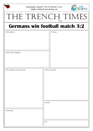 Preview of worksheet Newspaper report: WW1 The Christmas Truce