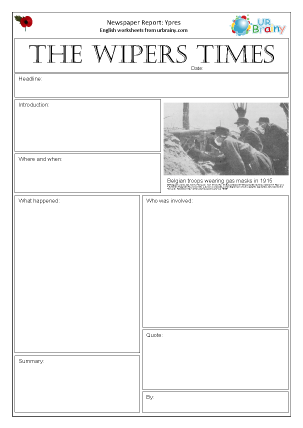 Preview of worksheet Newspaper report: WW1  Ypres