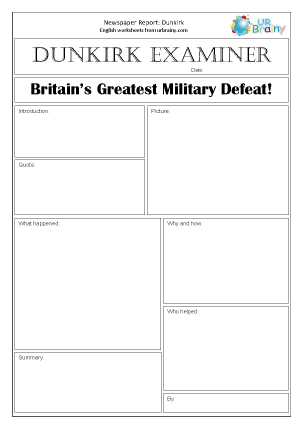 Preview of worksheet Newspaper report: WWII Dunkirk
