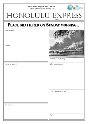 Preview of worksheet Newspaper report: WWII   Pearl Harbor