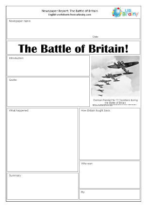 Preview of worksheet Newspaper report: WWII The Battle of Britain