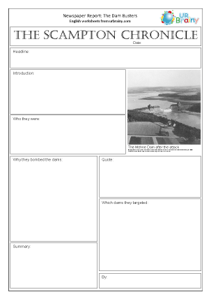 Preview of worksheet Newspaper report: WWII The Dam Busters