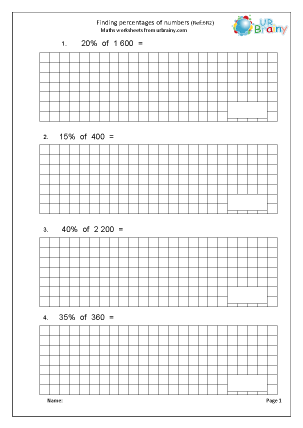 Preview of worksheet Finding percentages of numbers (6R2)