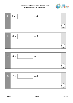 Preview of worksheet Missing number problems: addition (1C4)