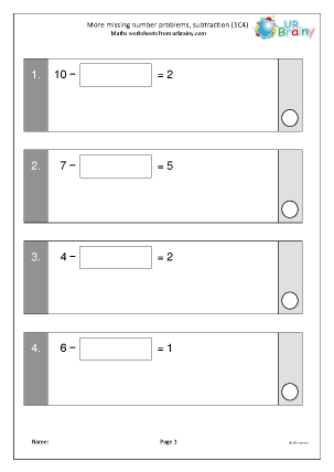 Preview of worksheet More missing number problems: subtraction (1C4)